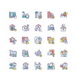 building and repair house rgb color icons set vector image