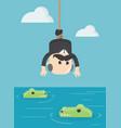 business concept cartoon human victim crocodile vector image
