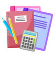calculator and pencil textbook and notebooks vector image vector image