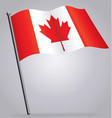canadian flag waving on flagpole vector image vector image