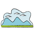 cartoon mountain meadow cloud landscape vector image vector image