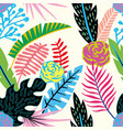 cartoon tropical flowers and leaves seamless vector image vector image