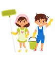 characters with mop and bucket vector image