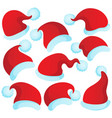 christmas hats theme 2 vector image vector image