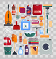 cleaning service set house cleaning tools on vector image