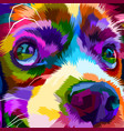 close up colorful cute dog vector image