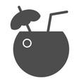 coconut cocktail solid icon drink vector image vector image