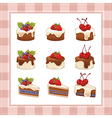 Collection cakes on white background