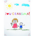 colorful pencil hand drawn of grandmother and vector image vector image