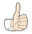 comic cartoon thumbs up symbol vector image vector image