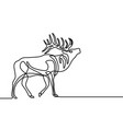 continuous one line howling elk vector image vector image