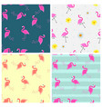 cute seamless flamingo pattern collection set vector image vector image