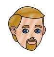 drawing head beard man character design vector image vector image