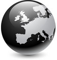 europe silhouette on gray globe vector image vector image