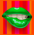 female sexy gloss green lips on red striped vector image vector image