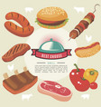 flat grill food round concept vector image vector image
