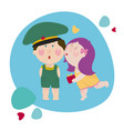 girl kisses a boy and gives a present to him girl vector image