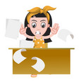 girl working on white background vector image vector image