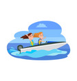 girls having fun while riding boat boating water vector image