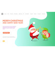 greeting card with santa claus and elf web poster vector image vector image