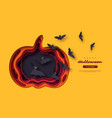 halloween holiday background paper cut style with vector image