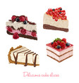 hand drawn delicious cake slices vector image vector image