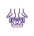 hands giving money banknote charity help donation vector image