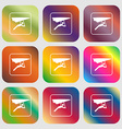 hang-gliding sign icon Nine buttons with bright vector image vector image
