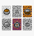 happy halloween greeting cards set vector image