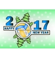 Happy new year 2017 and Volleyball vector image vector image