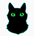 head a black cat with cute colorful eyes vector image vector image