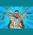 hipster happy military news paper newspaper vector image