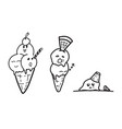 ice cream cartoon drawing doodle vector image