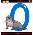 letter o for otter cartoon vector image vector image