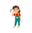 little girl suffering from strong tooth pain sick vector image