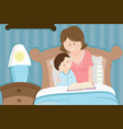 mother and son reading bedtime story vector image