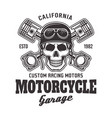 motorcycle garage biker emblem with skull vector image vector image