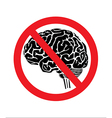 no think with brain vector image vector image