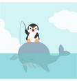 penguin sitting on big whale vector image vector image