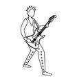 rocker man playing guitar electric character vector image vector image