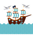 sailboat nautical seabird anchor marine concept vector image