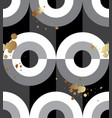 seamless pattern black white circles gold spatter vector image
