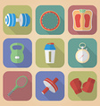Set of Fitnes Icons Modern flat style vector image vector image