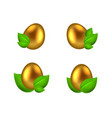set of golden eggs in green leaves vector image