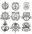 set of yacht club labels nautical design elements vector image vector image