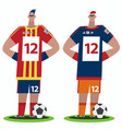soccer players stand full body view vector image vector image
