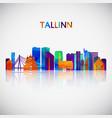 tallinn skyline silhouette in colorful geometric vector image vector image