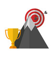 target arrow success with mountain and trophy cup vector image
