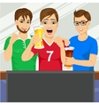 three young friends watching sports game vector image vector image