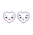 two cute cartoon hearts with male and female face vector image vector image